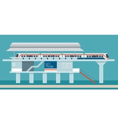 Sky train station flat design objects vector