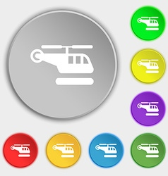 Helicopter icon sign symbol on five flat buttons vector