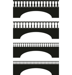 Set of ancient stone bridge black silhouettes vector
