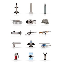 realistic weapon and war icons vector image