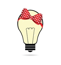 Lightbulb with bow vector