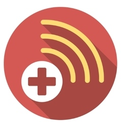 Medical source flat round icon with long shadow vector