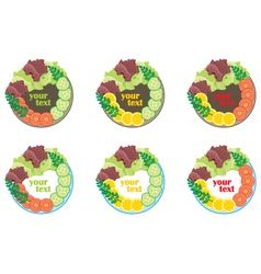 Plate with vegetables vector image