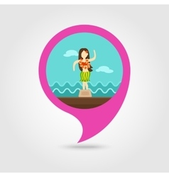 Hula dancer statuette pin map icon vacation vector