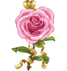 Pink rose in the shape of heart vector