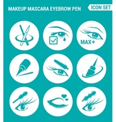 Set of round icons white makeup mascara eyebrow vector