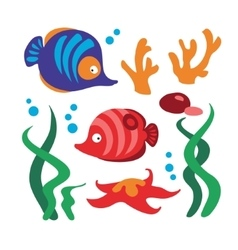 Underwater set with fishes coral starfish rocks vector