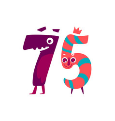 Animallike character number seventy five 75 vector