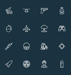 Army outline icons set collection of officer vector