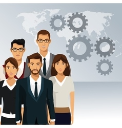 Business people teamwork cooperation success vector