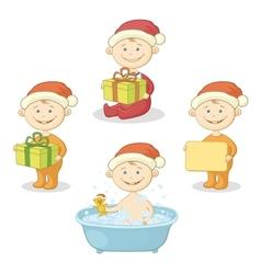 Cartoon children in Santa hat vector image vector image