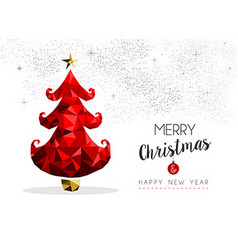 Christmas tree in red for season greeting card vector image vector image