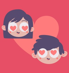 Couple heads inside heart vector