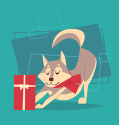 Dog with gift box wear winter scarf happy new year vector
