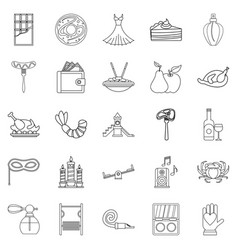 Evening gown icons set outline style vector