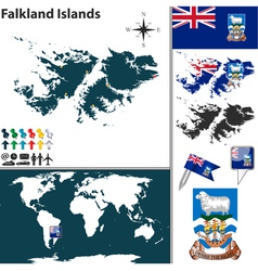 Falkland Islands map world vector image vector image