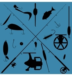 Fishing equipment set vector