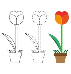 Flower coloring book and dotted line vector