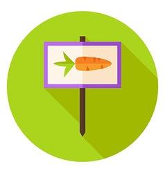 Garden Sign with Carrot Circle Icon vector image vector image