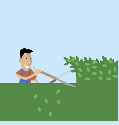 Gardener cuts trees with shears vector