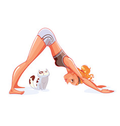 Girl and cat do yoga downward-facing dog pose vector