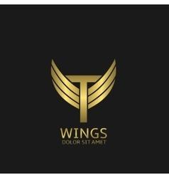 Golden t letter logo vector