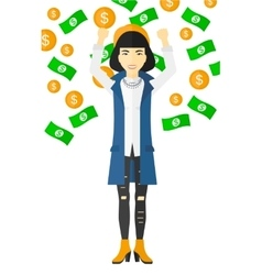 Happy woman with flying money vector image