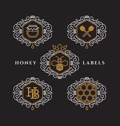 Honey outline labels vector