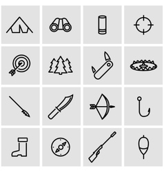 line hunting icon set vector image vector image