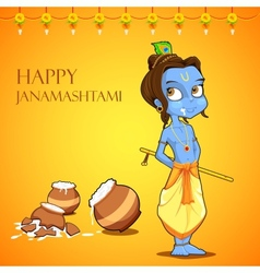 Lord krishana in janmashtami vector