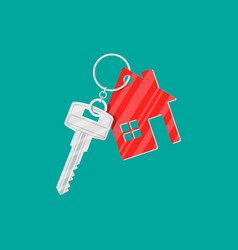 Metal key with keychain house vector