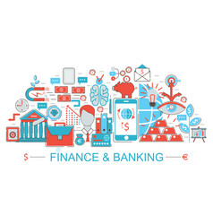 modern flat thin line design finance and banking vector image vector image