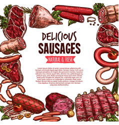 sausage beef and pork meat delicatessen banner vector image vector image