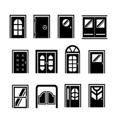 Set icons of doors vector