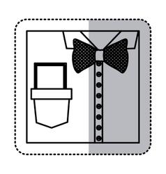 sticker monochrome contour close up formal shirt vector image vector image