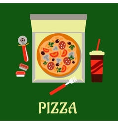Takeaway pizza and soda drink vector image vector image