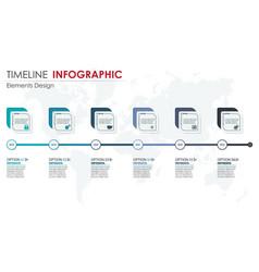 timeline infographics set element infographic vector image