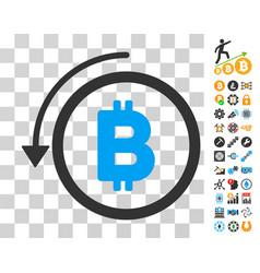 Undo bitcoin payment icon with bonus vector