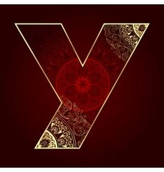 Vintage alphabet with floral swirls letter Y vector image