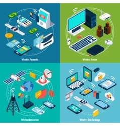 Wireless technologies isometric set vector image vector image