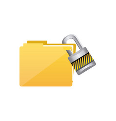 yellow file and close lock icon vector image vector image