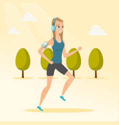 young woman running with earphones and smartphone vector image vector image