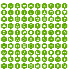 100 stylist icons hexagon green vector