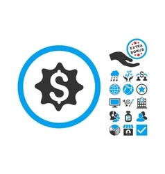 Money award flat icon with bonus vector