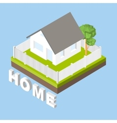 Isometric 3d icon pictograms house with a white vector