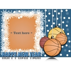 Frame happy new yearand basketball vector