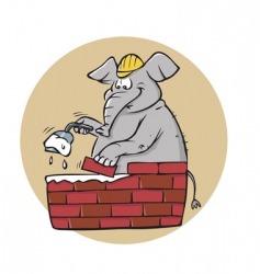 elephant bricklayer vector image