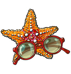 Hand drawn starfish and round sunglasses in red vector