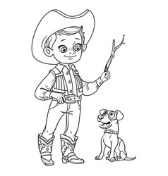 cute boy in cowboy costume play with dog outlined vector image