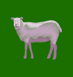 Flat shading style icon sheep vector